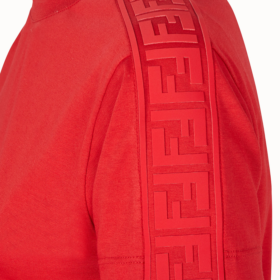 FENDI T-SHIRT - Red jersey T-shirt - view 3 detail