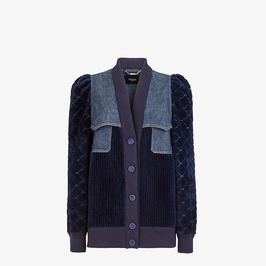 FENDI JACKET - Blue shearling and denim jacket - view 1 detail