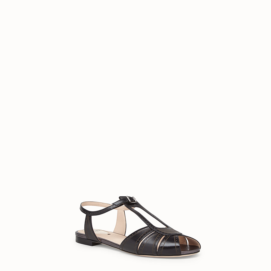 FENDI SANDALS - Black leather flats - view 2 detail