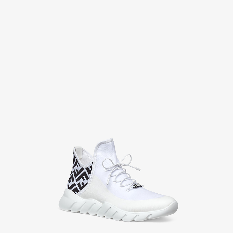 FENDI SNEAKERS - White tech mesh high-tops - view 2 detail