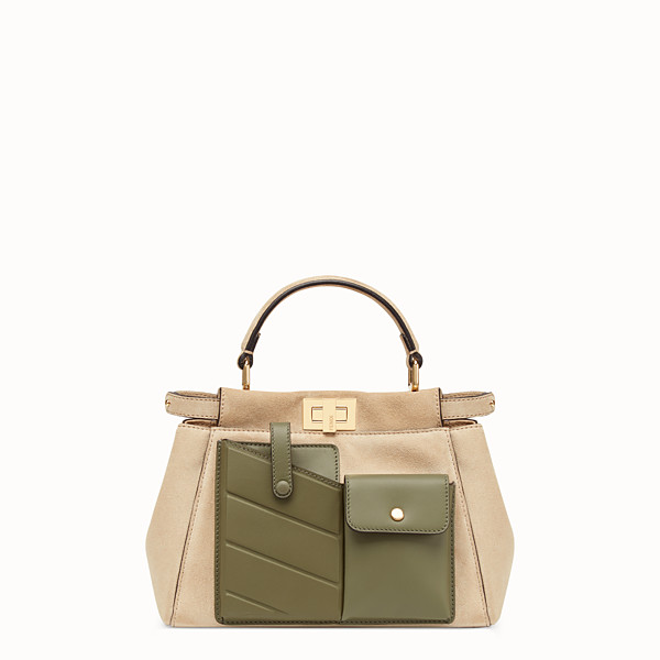 FENDI PEEKABOO MINI POCKET - Bolso de gamuza beige - view 1 small thumbnail