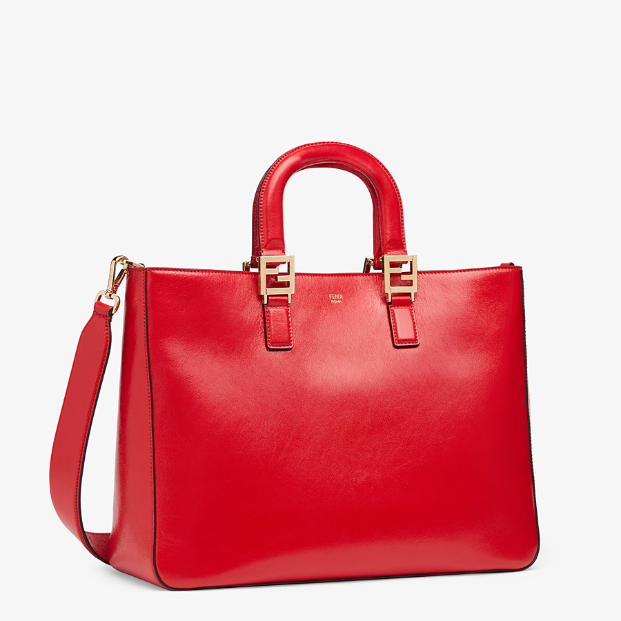 FENDI FF TOTE MEDIUM - Red leather bag - view 3 detail