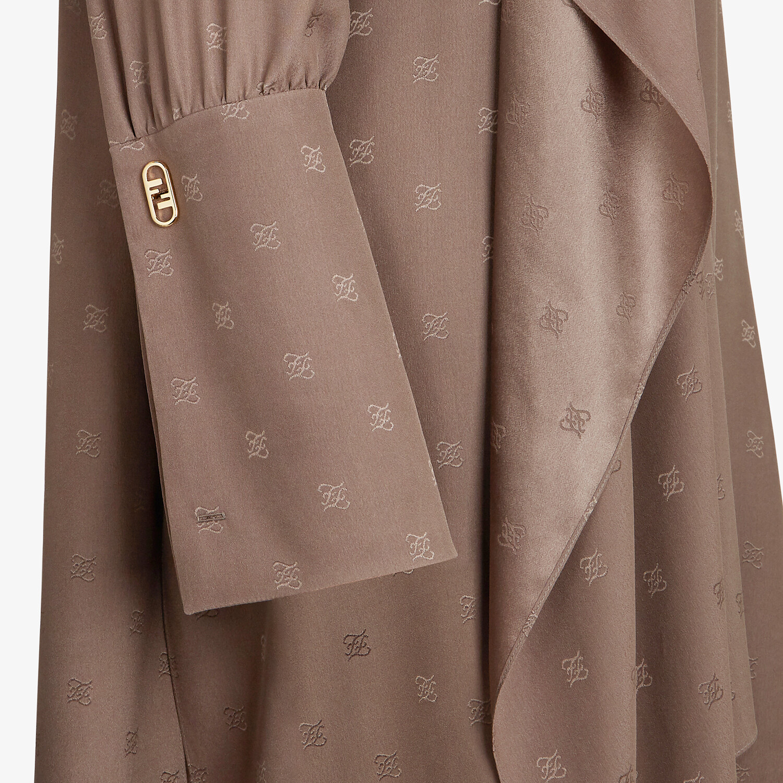 FENDI DRESS - Brown crêpe de Chine dress - view 3 detail