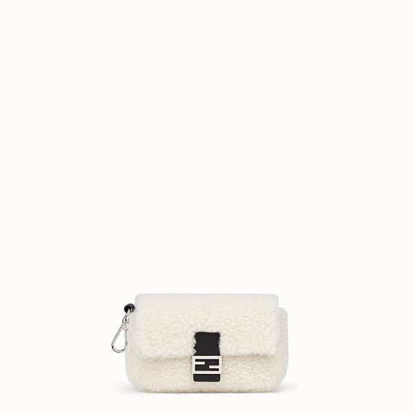 FENDI MICRO BAGUETTE - White sheepskin micro-bag - view 1 small thumbnail