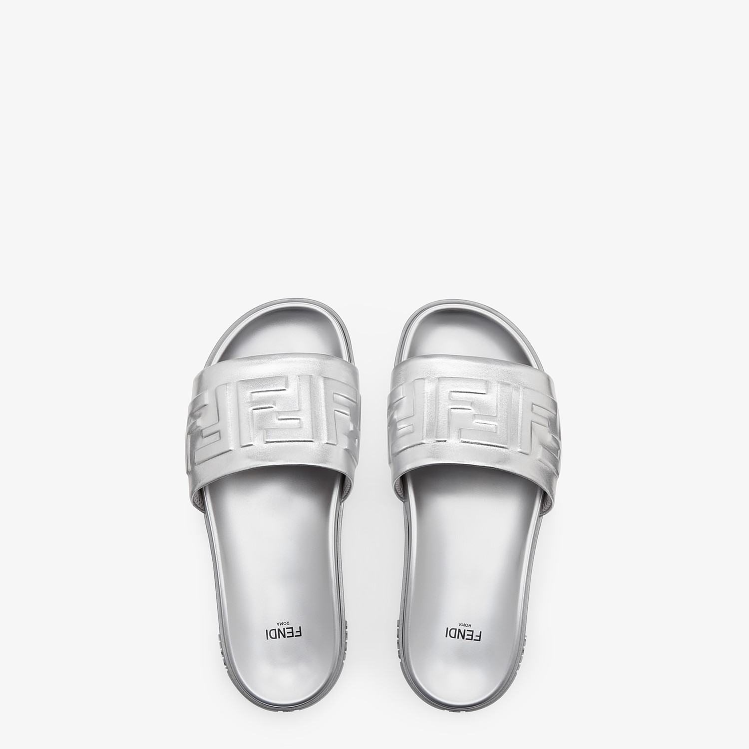 FENDI SANDALS - Silver nappa leather slides - view 4 detail