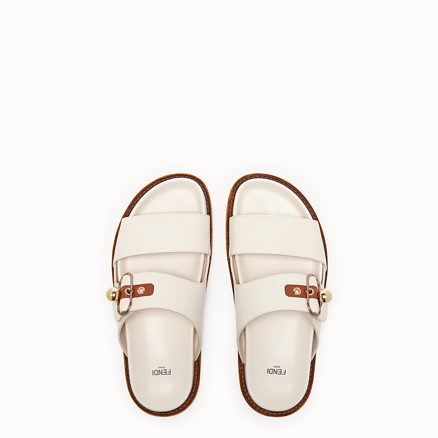 FENDI SANDALS - White leather flats - view 4 detail