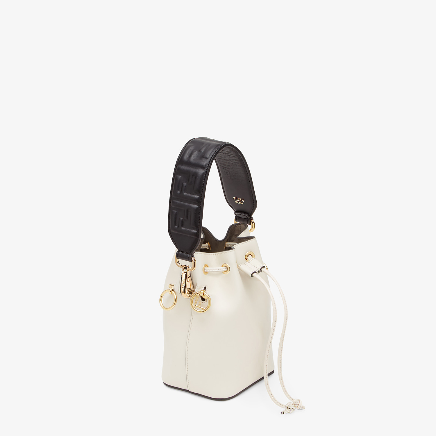FENDI MINI STRAP YOU - Black leather shoulder strap - view 2 detail
