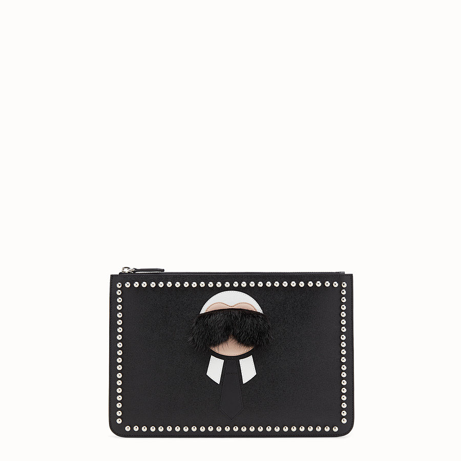 FENDI KARLITO POUCH - in elite leather with inlay - view 1 detail