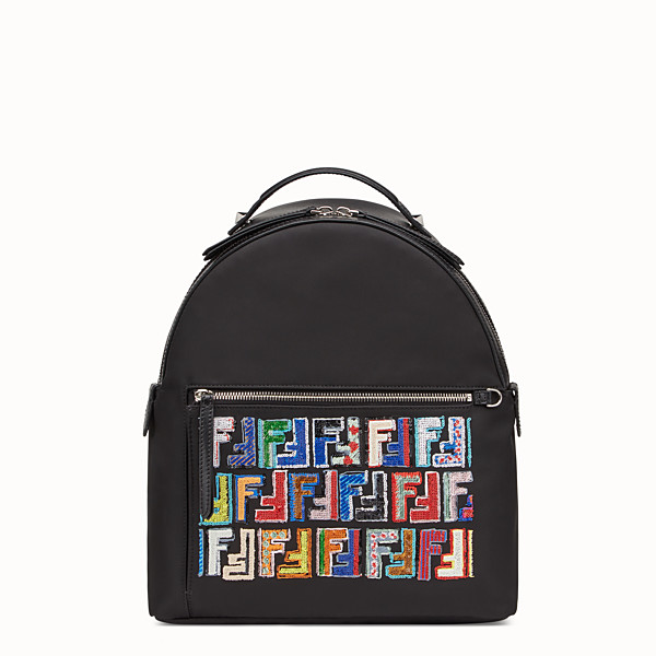 FENDI BACKPACK - Black fabric and leather backpack - view 1 small thumbnail