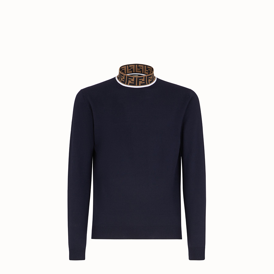 FENDI TURTLENECK - Blue wool jumper - view 1 detail