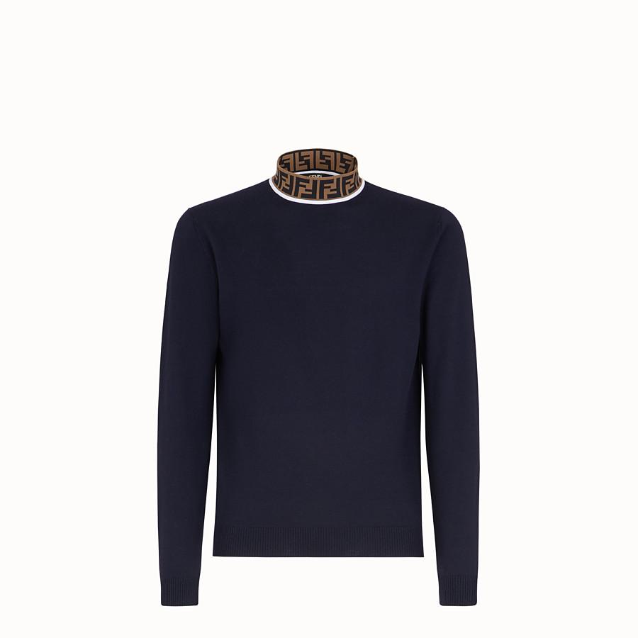 FENDI TURTLENECK - Blue wool jumper - view 1 detail