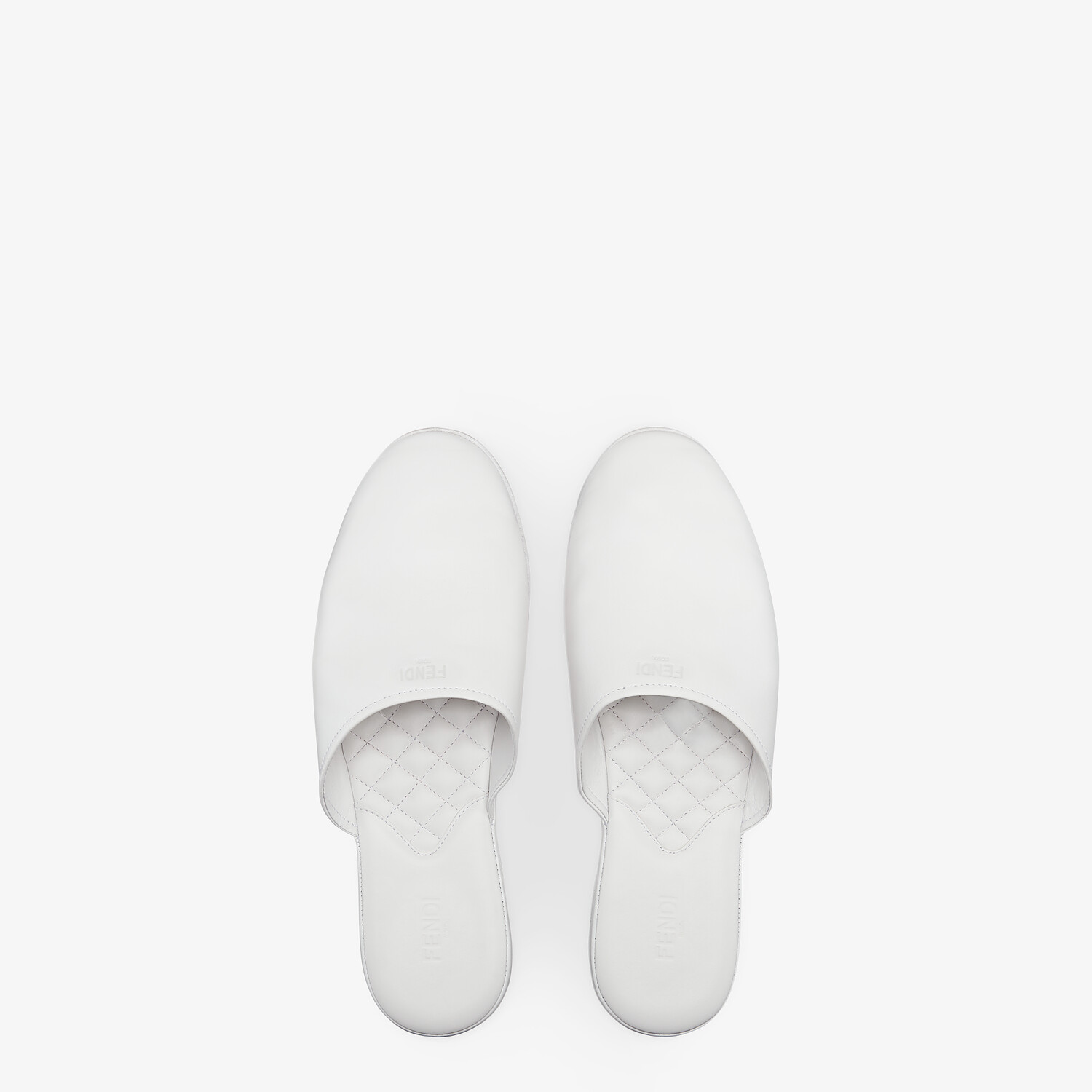 FENDI SLIPPERS - White nappa leather mules - view 4 detail