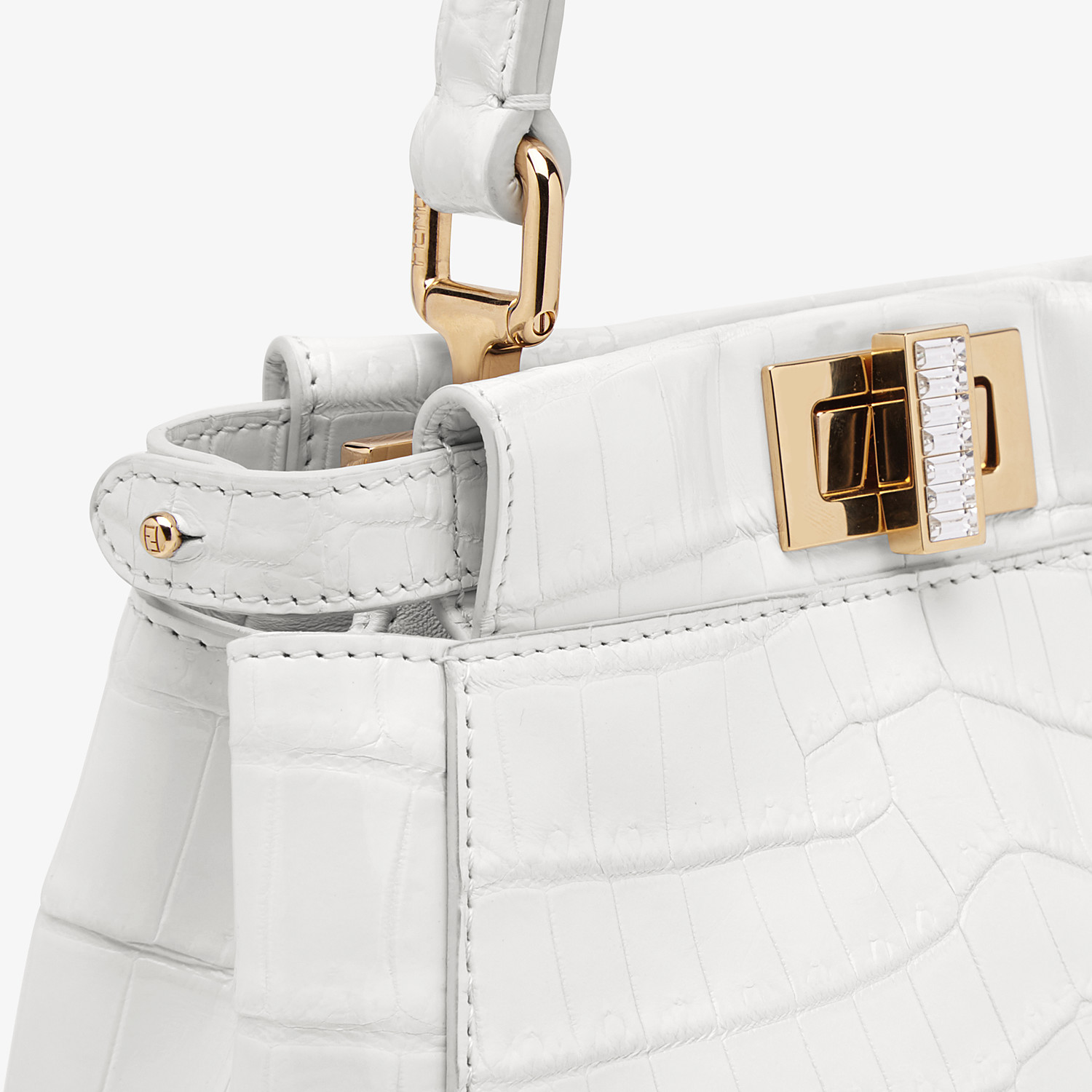 FENDI PEEKABOO ICONIC XS - Mini-bag in white crocodile - view 5 detail