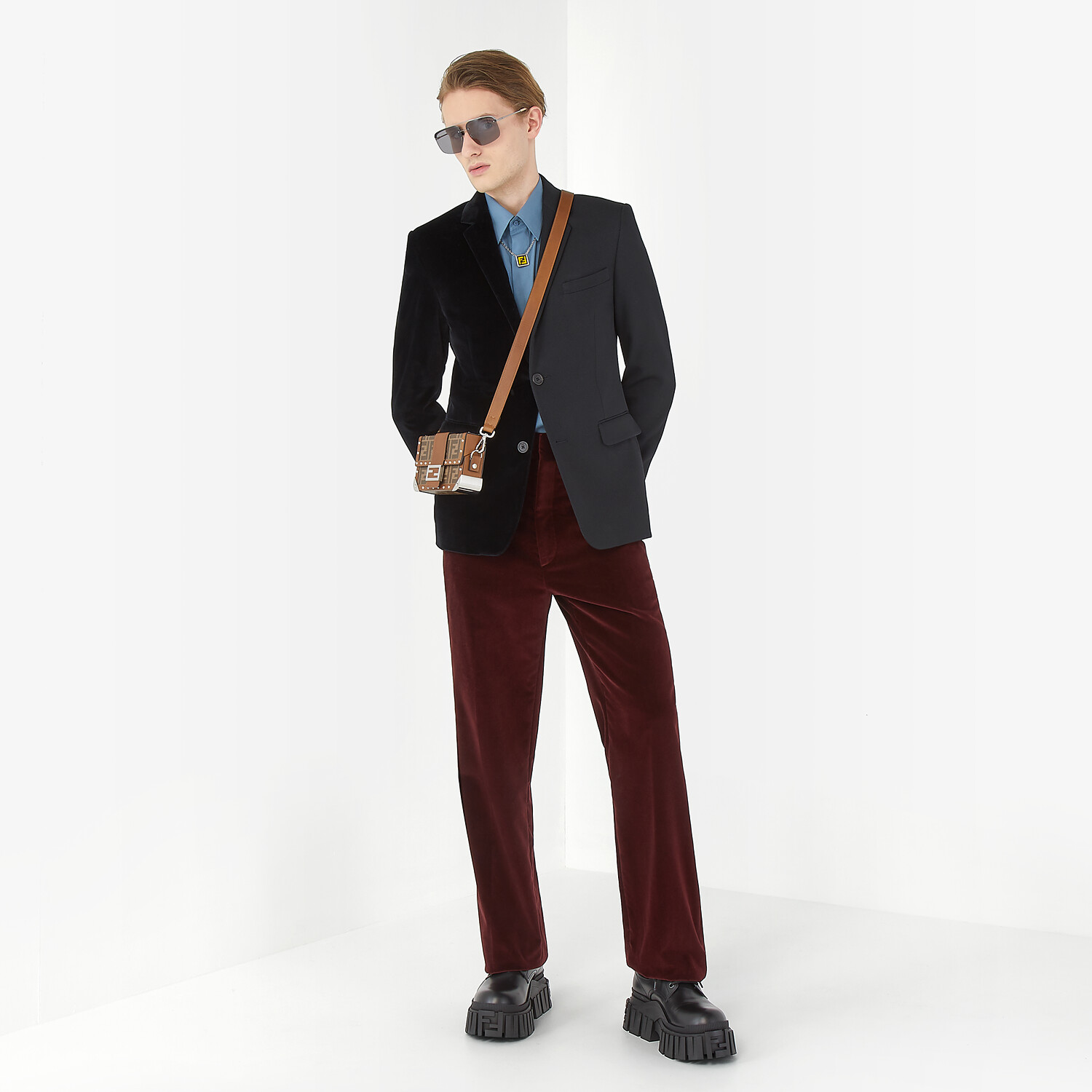 FENDI TROUSERS - Burgundy velvet trousers - view 4 detail