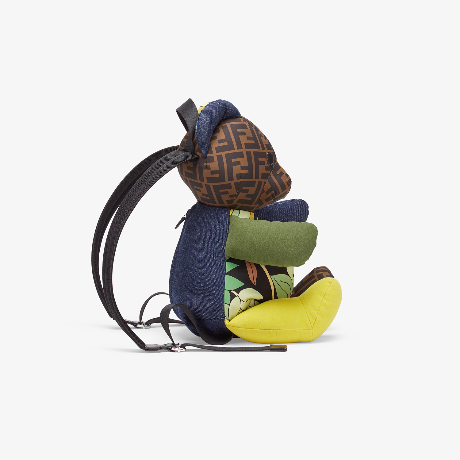 FENDI TEDDY BEAR BACKPACK - Teddy bear backpack in multicolor patchwork fabric with FF logo - view 2 detail
