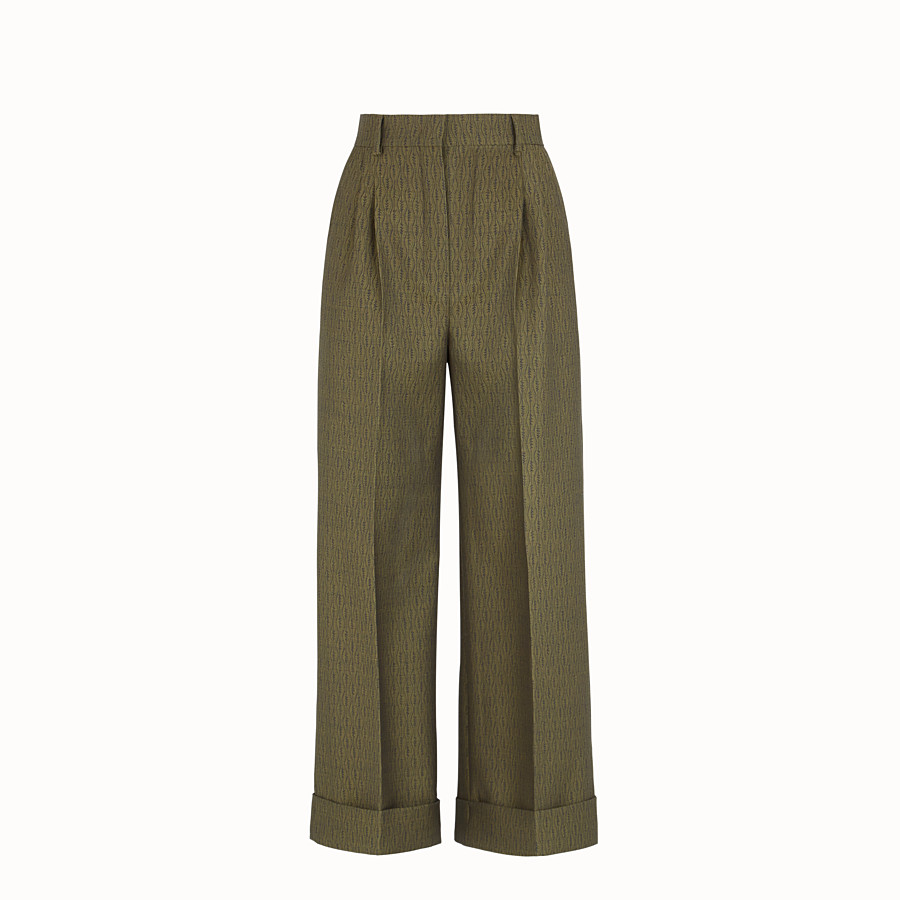 FENDI TROUSERS - Green wool trousers - view 1 detail