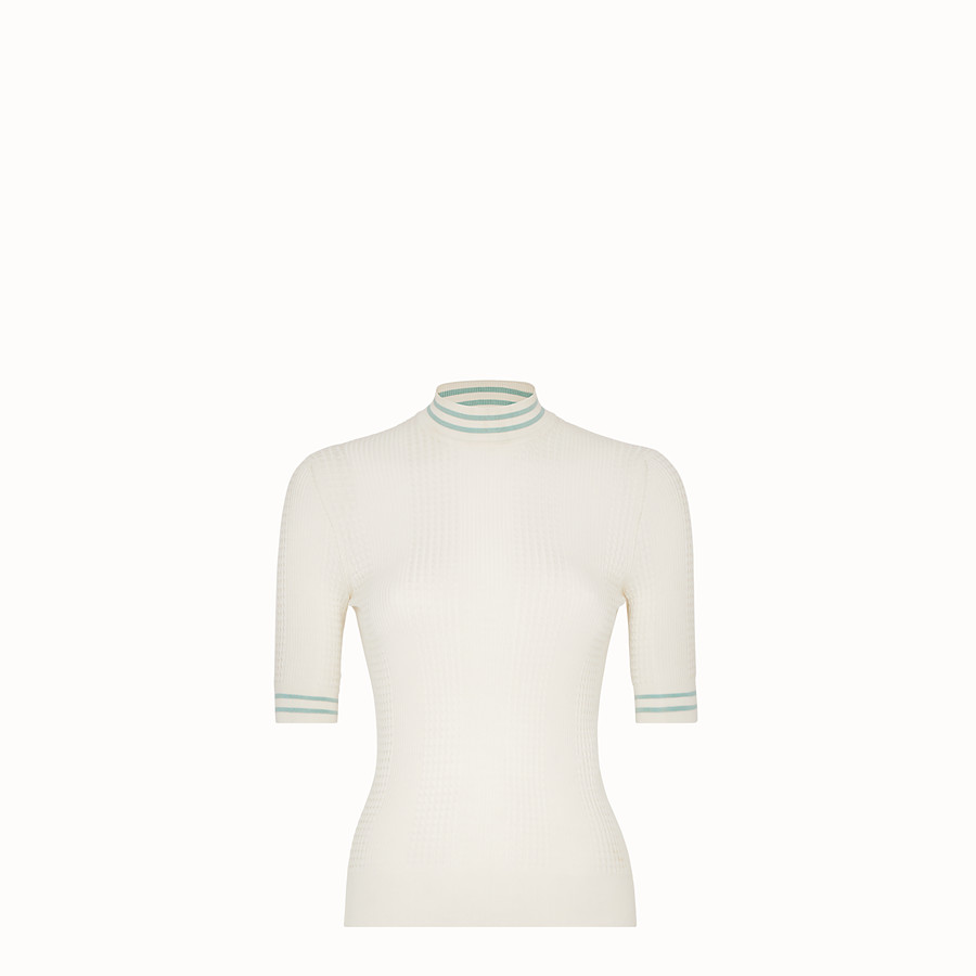 FENDI PULLOVER - White silk jumper - view 1 detail