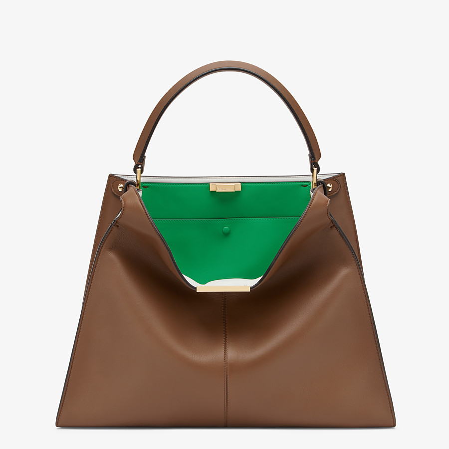 FENDI PEEKABOO X-LITE LARGE - Brown leather bag - view 2 detail