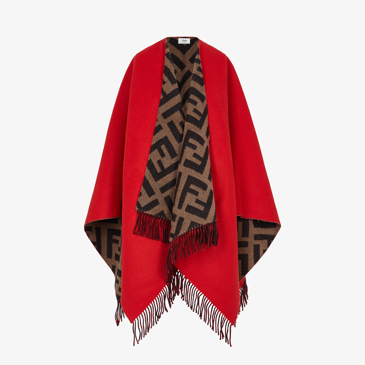 FENDI PONCHO - Multicolour wool and cashmere poncho - view 1 detail