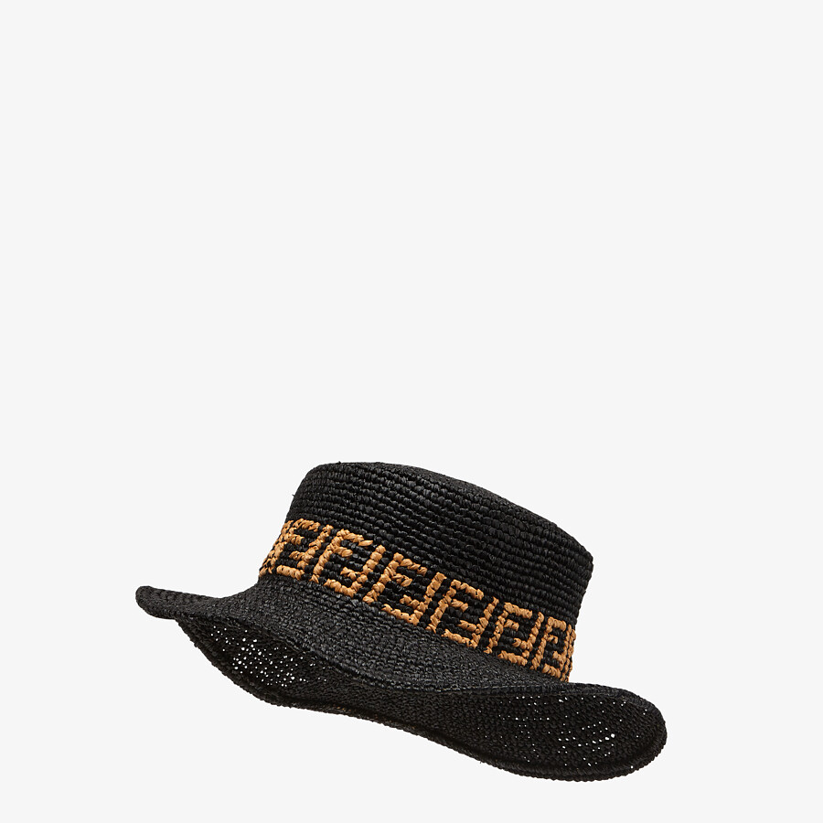 FENDI HAT - Black raffia bucket hat - view 1 detail