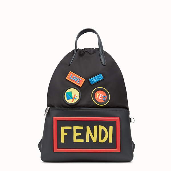 FENDI BACKPACK - Backpack in black nylon and leather - view 1 small thumbnail