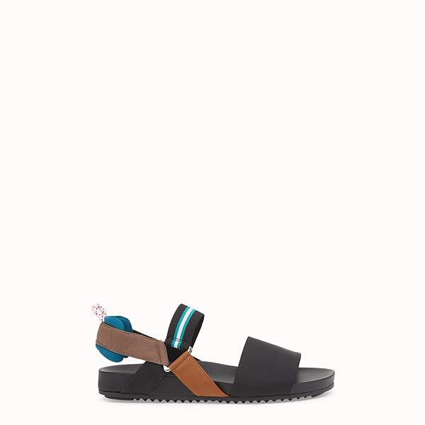 FENDI SANDALS - Black tech fabric flats - view 1 small thumbnail