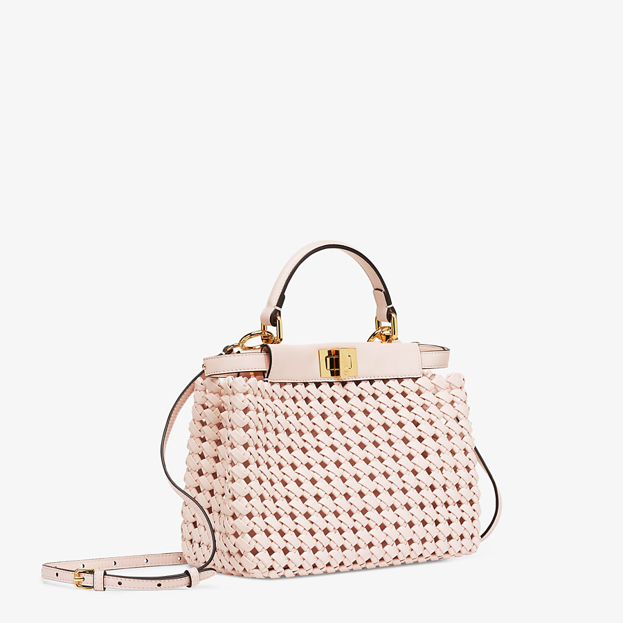 FENDI PEEKABOO ICONIC MINI - Tasche aus Interlace Leder in Rosa - view 3 detail