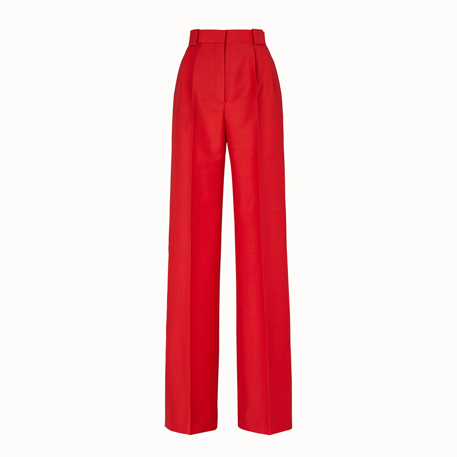 FENDI TROUSERS - Red kid mohair trousers - view 1 detail