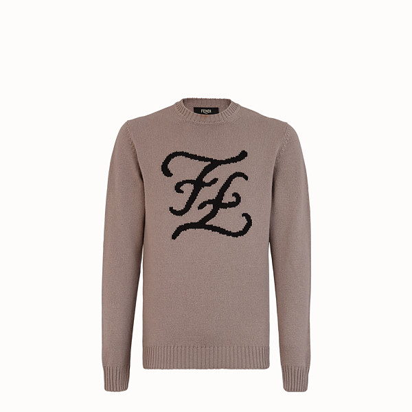 FENDI PULLOVER - Beige cashmere jumper - view 1 small thumbnail