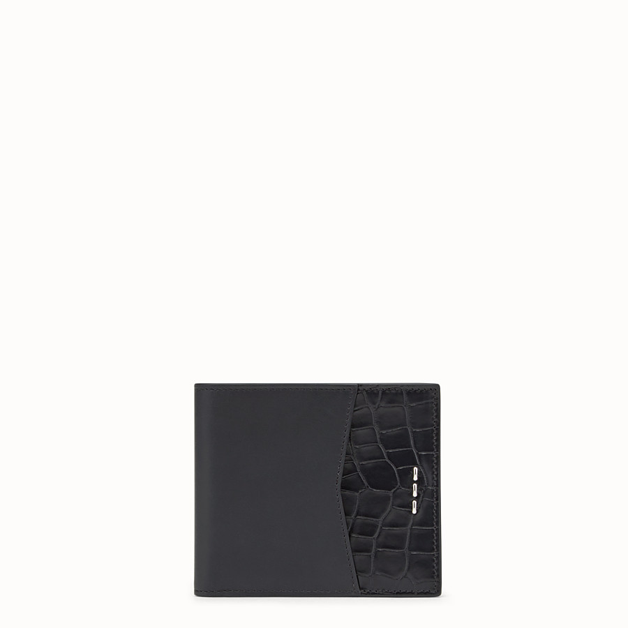 FENDI WALLET - Black leather and alligator bi-fold wallet - view 1 detail