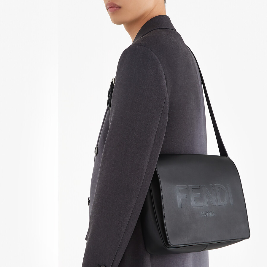 FENDI MESSENGER - Black leather bag - view 6 detail