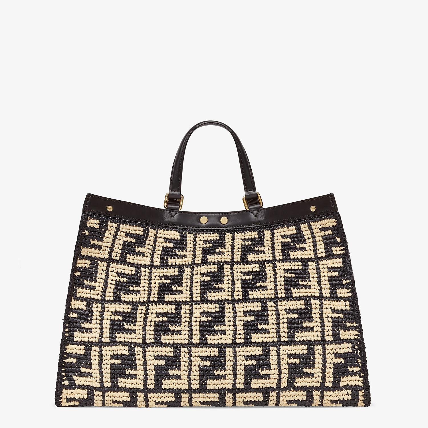 FENDI PEEKABOO X-TOTE - Black FF raffia bag - view 4 detail