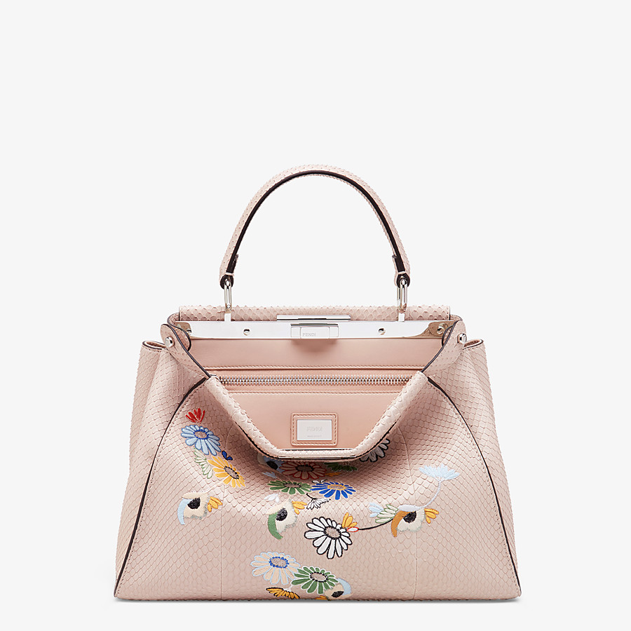 FENDI PEEKABOO ICONIC MEDIUM - Pink python leather bag - view 1 detail