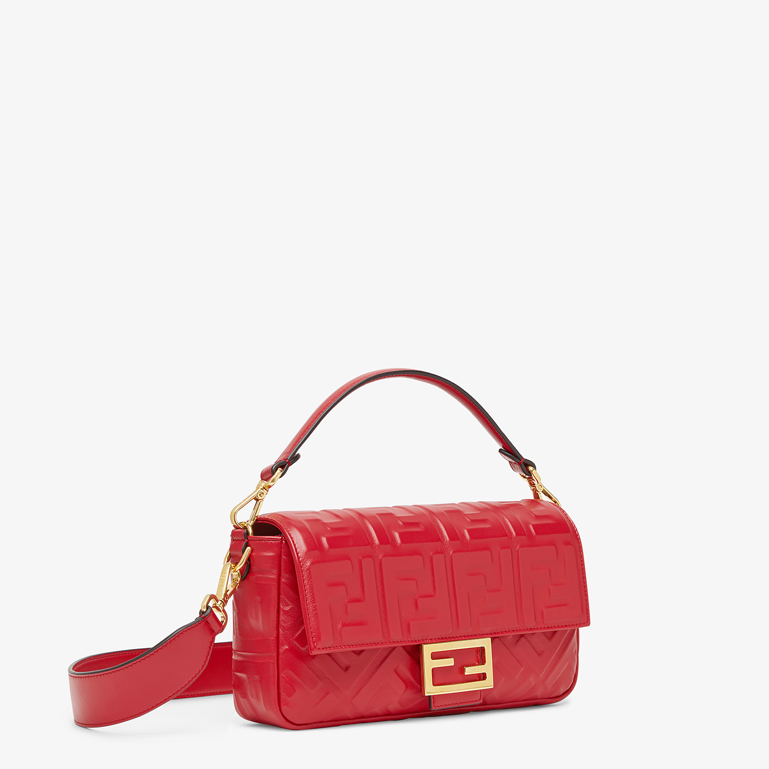 FENDI BAGUETTE - Red leather bag - view 3 detail