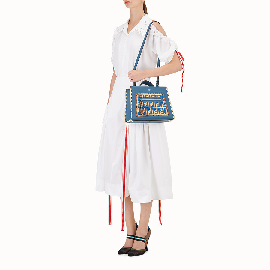 FENDI RUNAWAY SMALL - Blue leather bag with exotic details - view 5 detail