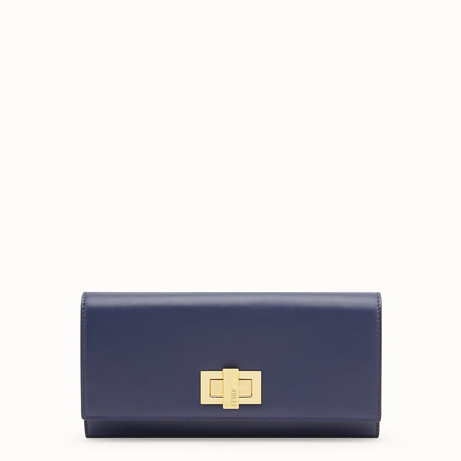 FENDI CONTINENTAL - Blue leather wallet - view 1 detail