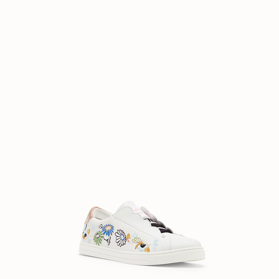FENDI SNEAKERS - White leather slip-ons - view 2 detail