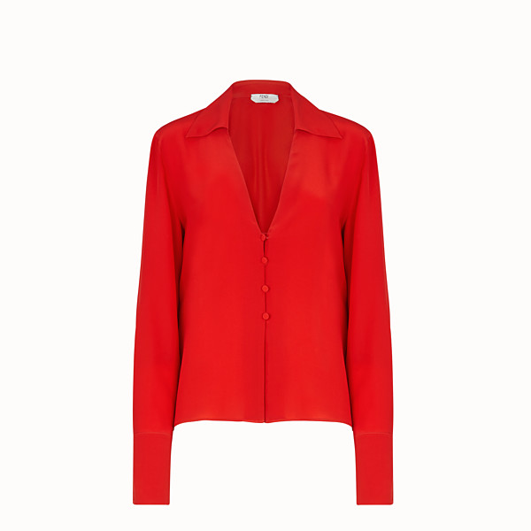 FENDI SHIRT - Red crêpe de chine blouse - view 1 small thumbnail