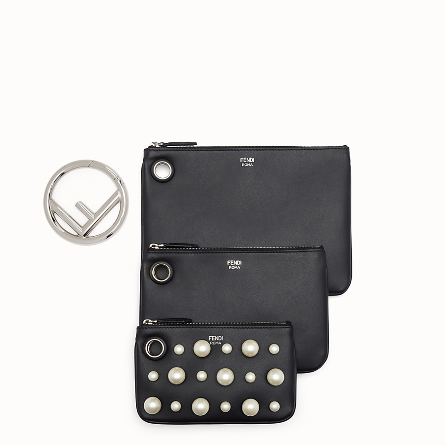 FENDI TRIPLETTE - Black leather clutch - view 2 detail
