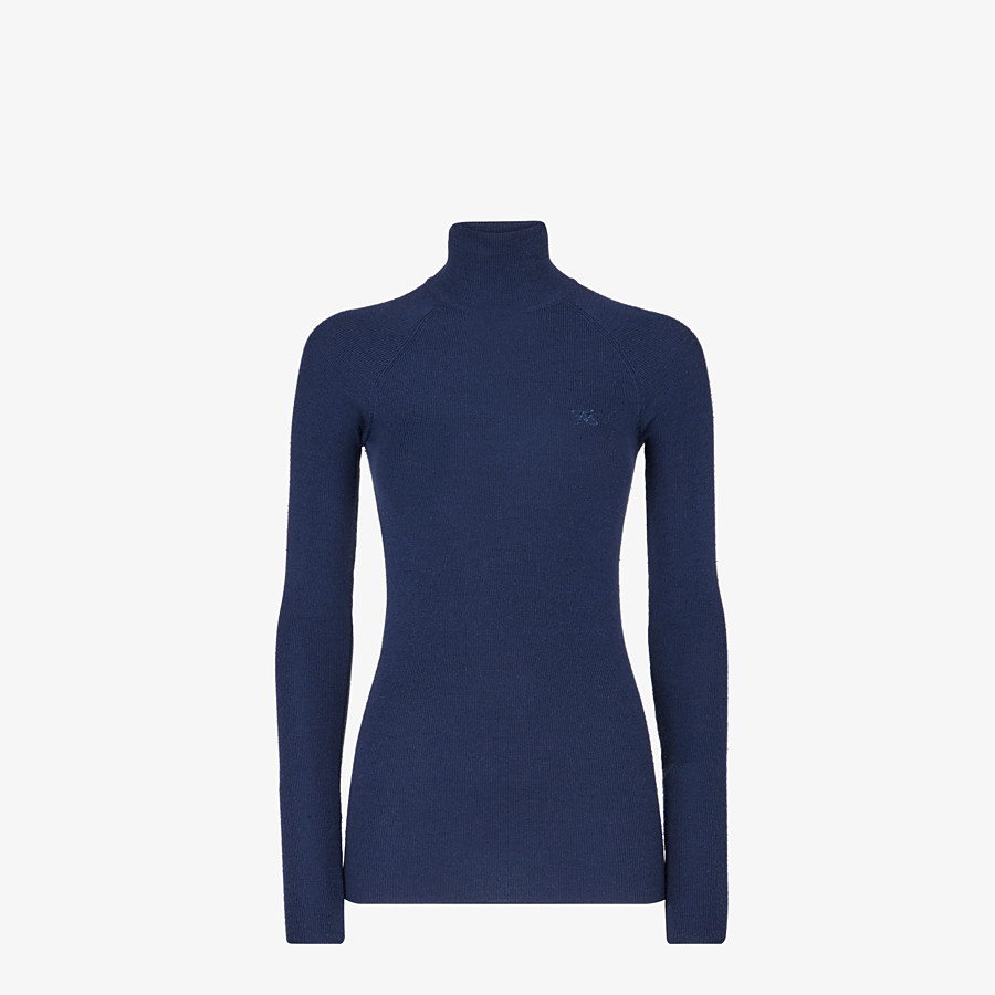 FENDI PULLOVER - Blue wool and silk jumper - view 1 detail