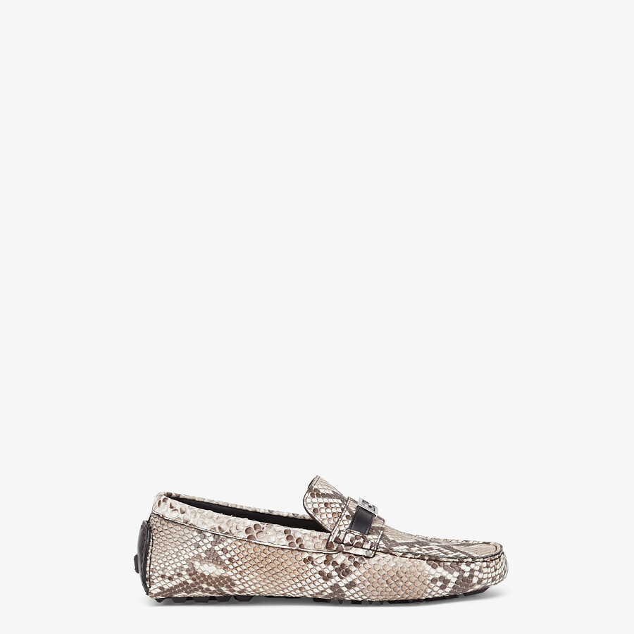 FENDI LOAFERS - Beige python leather drivers - view 1 detail
