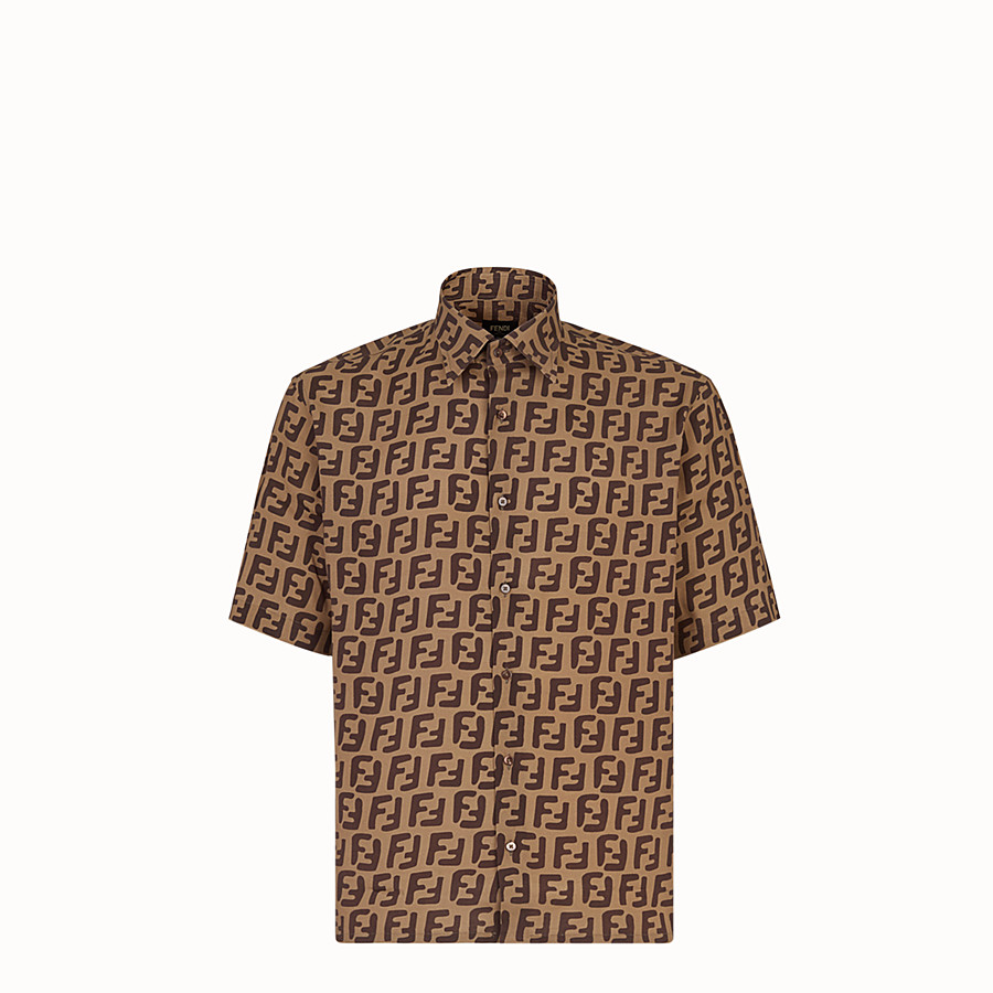FENDI SHIRT - Brown fabric shirt - view 1 detail
