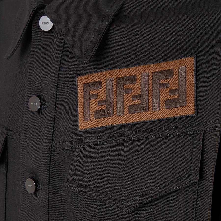 FENDI JACKET - Black canvas jacket - view 3 detail