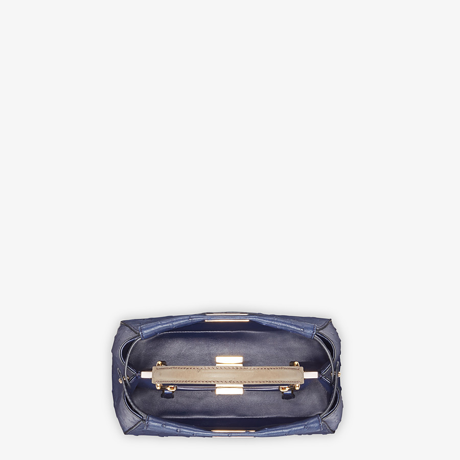 FENDI PEEKABOO ICONIC MINI - Blue ostrich bag - view 4 detail