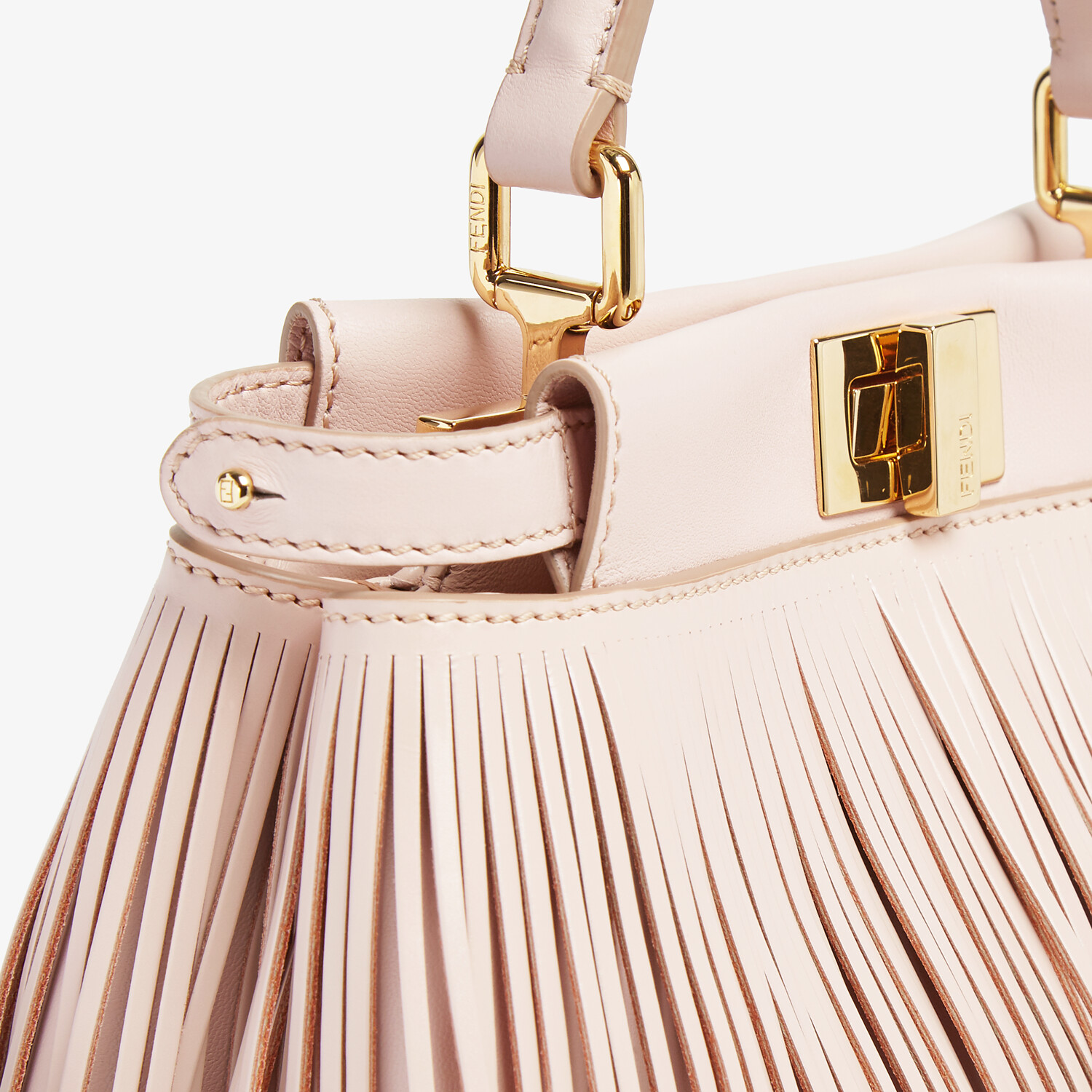 FENDI PEEKABOO ICONIC MINI - Pink leather bag with fringes - view 5 detail