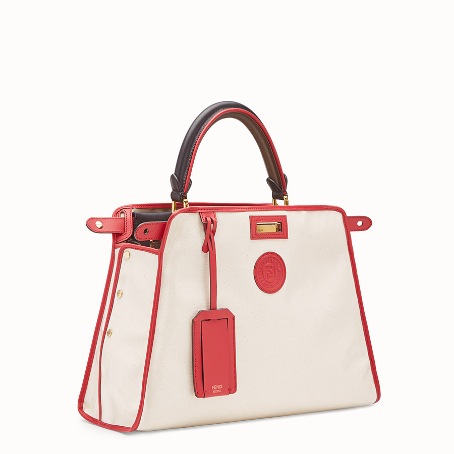 FENDI PEEKABOO DEFENDER - White leather bag with cover - view 3 detail