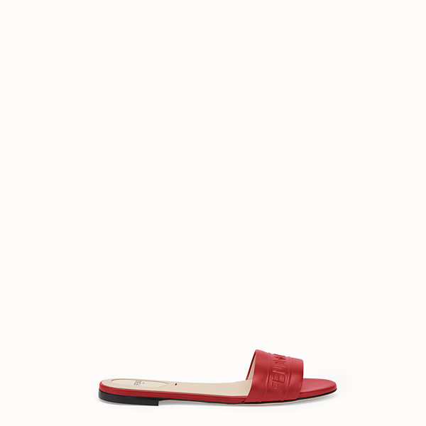FENDI SLIDES - Red leather slides - view 1 small thumbnail