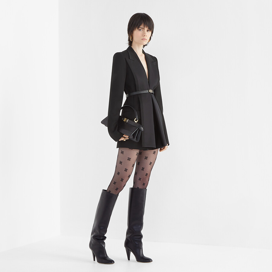 FENDI KARLIGRAPHY - Black leather, high-heeled boots - view 5 detail