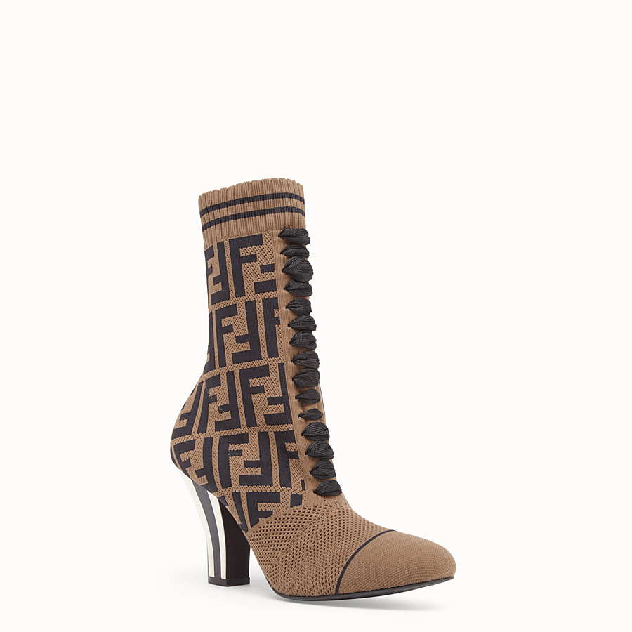 FENDI BOOTS - Multicolour fabric ankle boots - view 2 detail