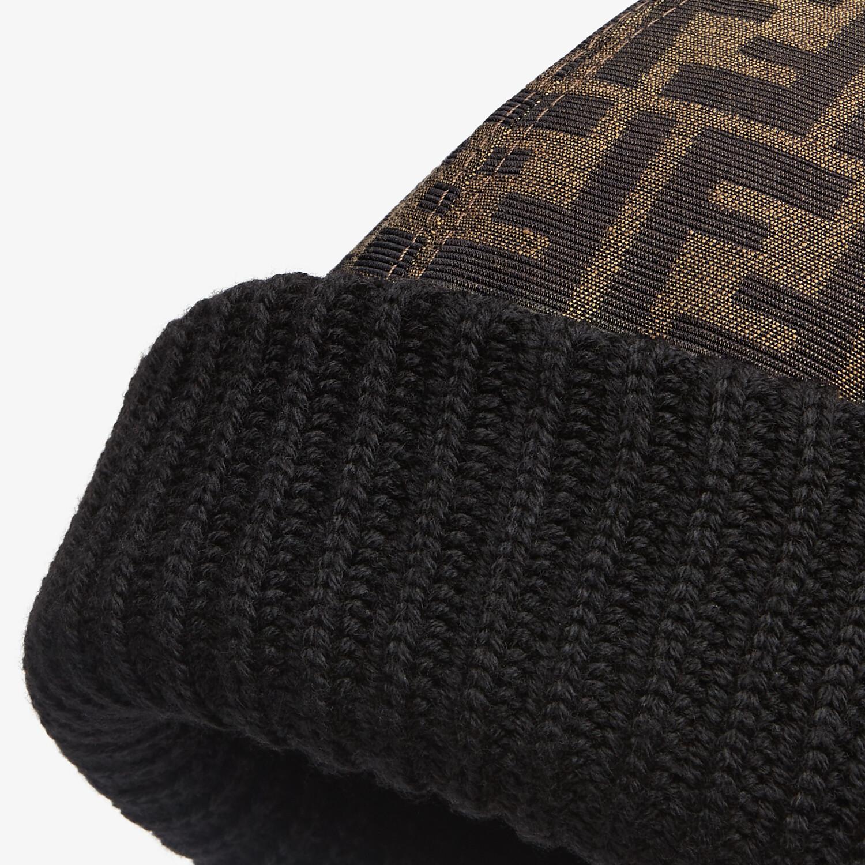 FENDI HAT - Skullcap in brown jacquard fabric - view 2 detail